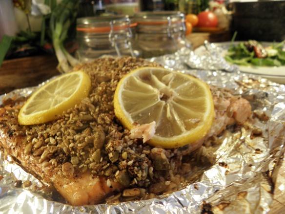 Seed & Cinnamon covered Salmon Steak